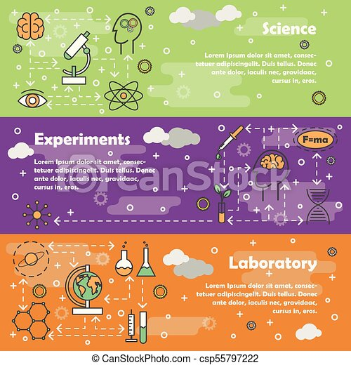 science concept vector flat line art banner set vector set of