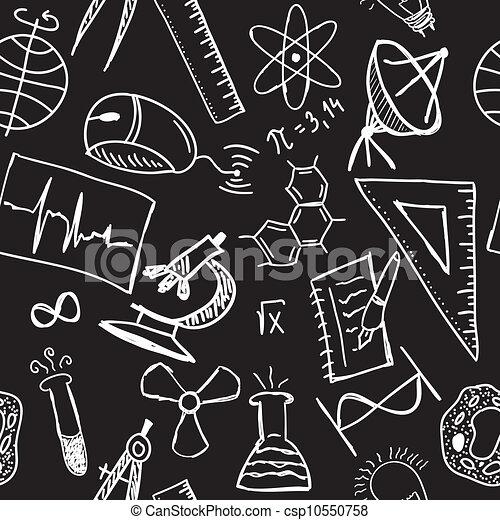science, dessins, seamless, modèle - csp10550758