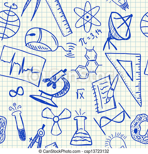 science, doodles, seamless, modèle - csp13723132