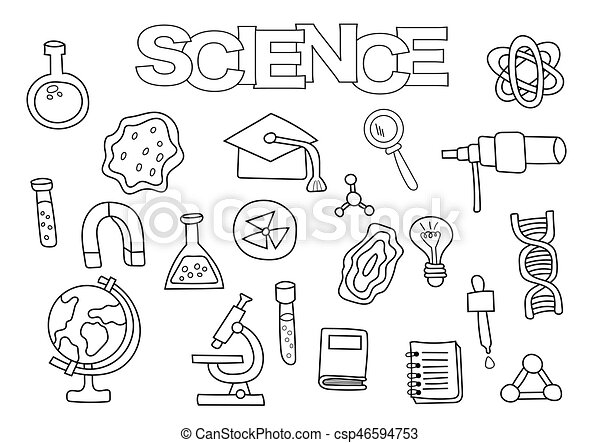 Science elements hand drawn set. coloring book template.... clipart ...