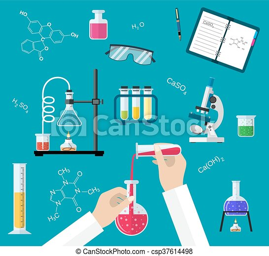 Science Experiment or chemistry laboratory concept - csp37614498