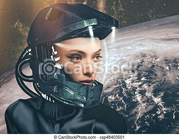 Science fiction, female portrait - csp48403501