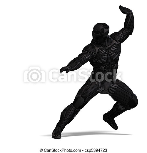 science fiction male character in futuristic suit. 3D rendering and shadow over white - csp5394723