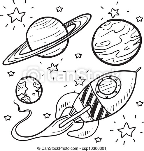 Science fiction objects sketch - csp10380801