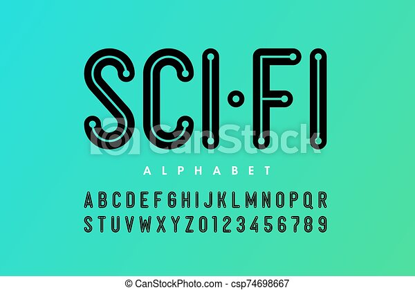 Science Fiction Style Font Alphabet Letters And Numbers Vector Illustration