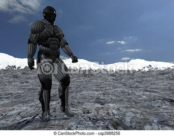 science fictional character in a strange and hostile world. 3D rendering over background scene - csp3988256