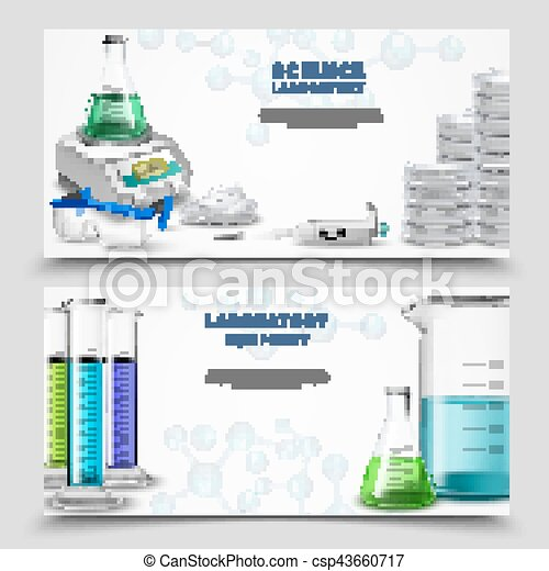 Science Lab Equipment Banners Two Horizontal Banners Set With