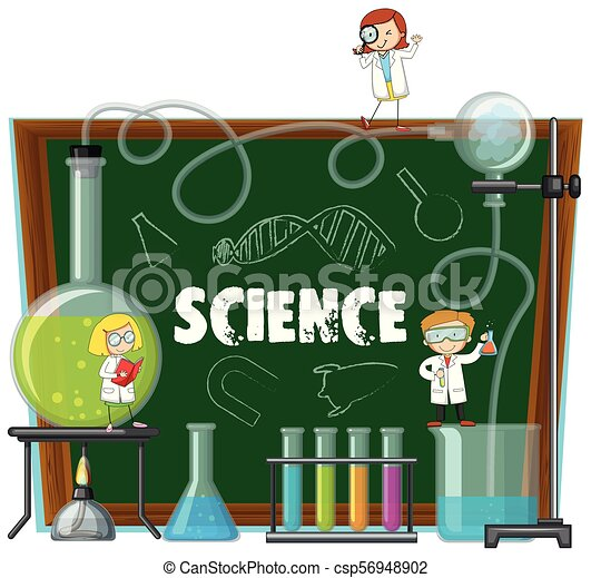 Science Lab Equipments And Blackboard