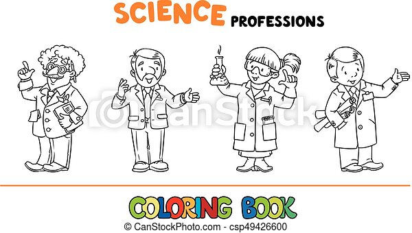 Science professions coloring book set. Coloring book set of ...