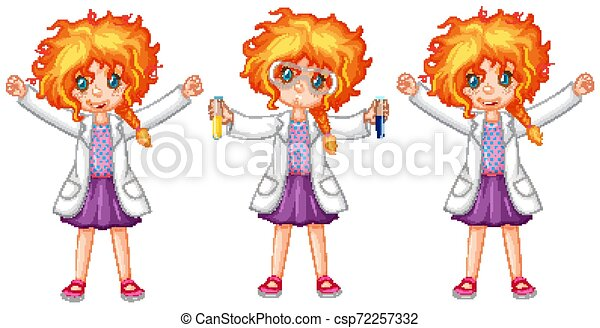 Science student in three poses - csp72257332