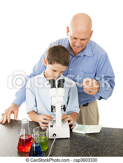 Science Teacher Helps Student - csp3603330