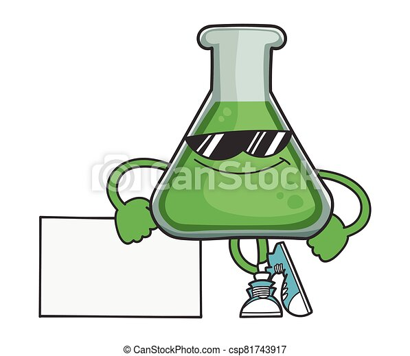 Science test tube cartoon character with sunglasses - csp81743917