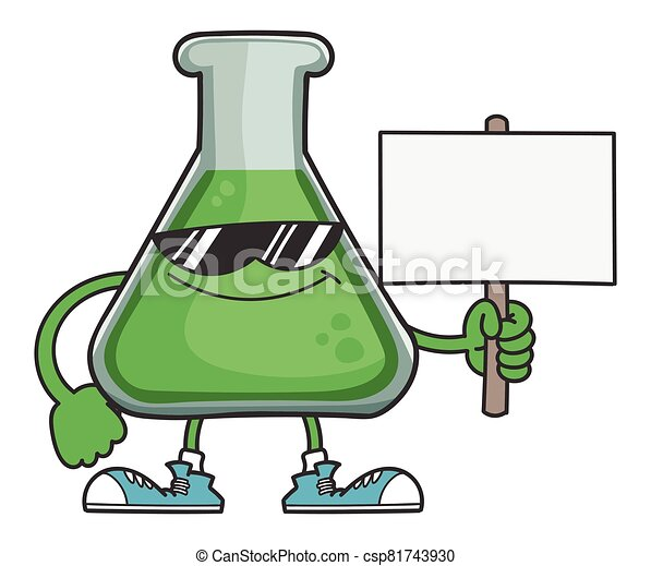 Science test tube with sunglasses holding sign post - csp81743930