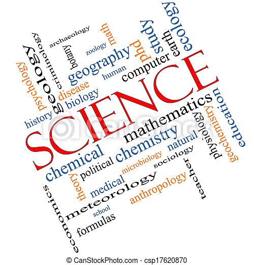 Science Word Cloud Concept Angled - csp17620870