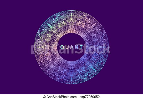 Scientific vector illustration quantum computer technology. Plexus fiction effect. Deep learning artificial intelligence. Big data algorithms visualization. Quantum explosion background. - csp77060652