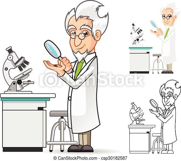 scientifique, caractère, dessin animé - csp30182587