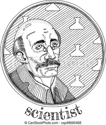 Scientist alchemic profession portrait - csp48690468