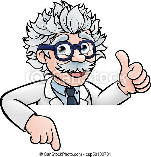 Scientist Cartoon Above Sign - csp50100701