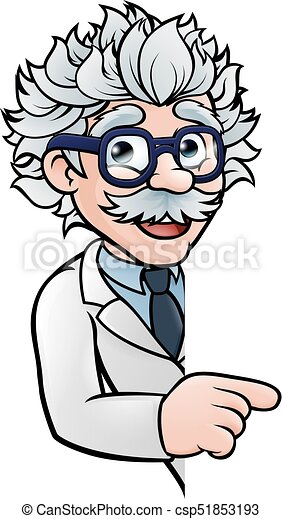 Scientist Cartoon Character Pointing Sign - csp51853193