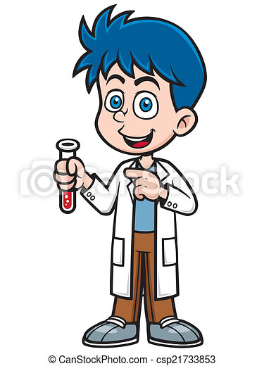 vector illustration of little scientist holding test tube https www canstockphoto com scientist 21733853 html