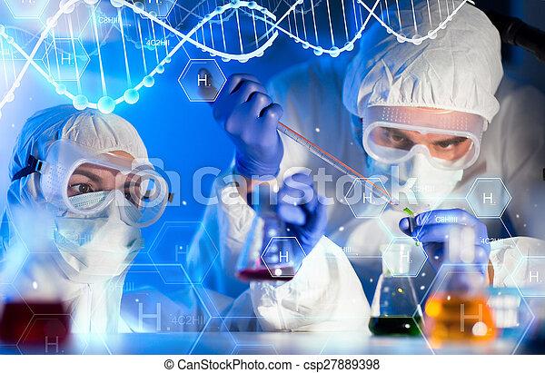 scienziati, su, laboratorio, fabbricazione, prova, chiudere - csp27889398