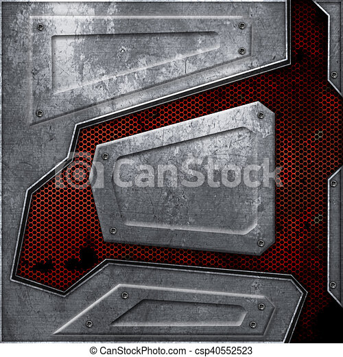 Metal Wall Texture Intended Scifi Wall Rust Metal Wall And Red Mesh Background Texture 3d Illustration Technology Concept