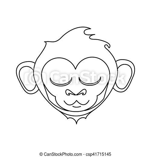 Scimmia Isolato Disegno Cartone Animato Faccia Fauna Scimmia