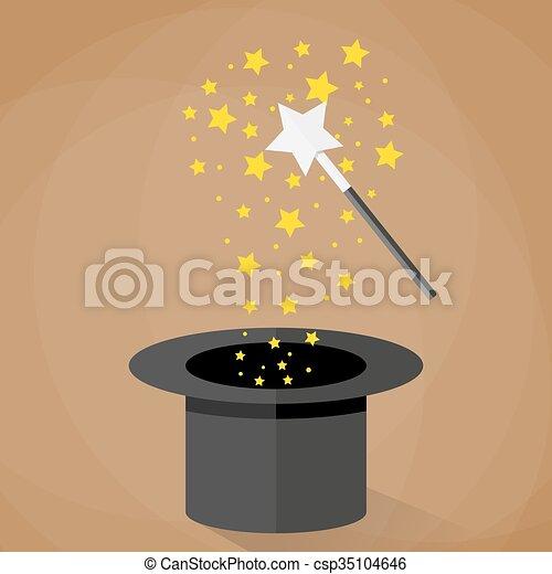 scintille, magia, stelle, bacchetta, cappello - csp35104646