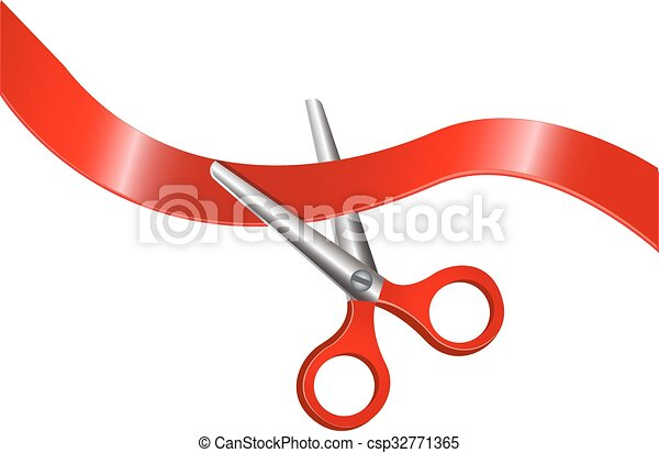 scissors and red ribbon - csp32771365