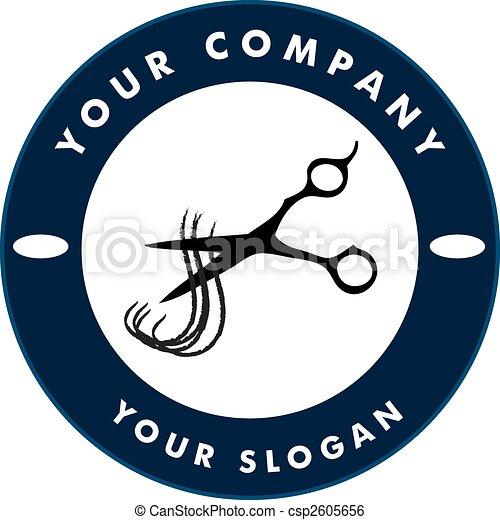 Scissors Cutting Hair Strand, Hair Solon Logo - csp2605656