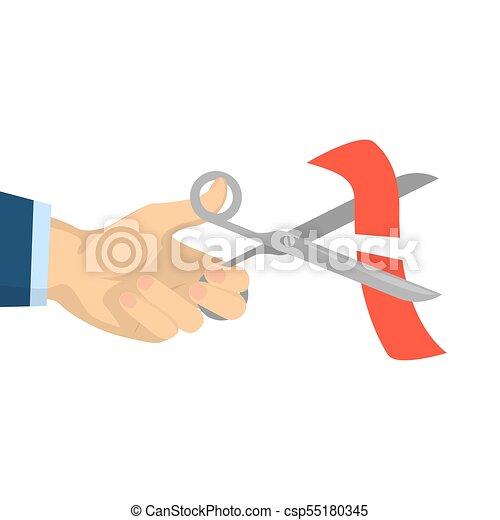 Scissors cutting ribbon. - csp55180345