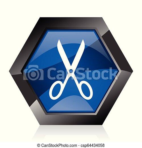 Scissors dark blue glossy hexagon geometric diamond vector web icon with reflection on white background. Modern design hexagonal internet button. - csp64434058