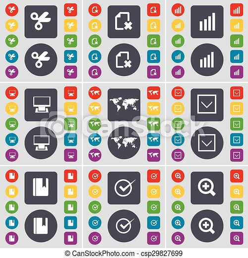 Scissors, File, Diagram, Monitor, Globe, Arrow down, Dictionary, Tick, Magnifying glass icon symbol. A large set of flat, colored buttons for your design. Vector - csp29827699