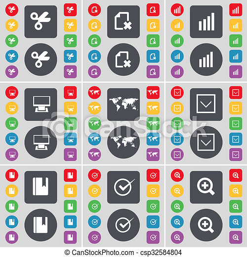 Scissors, File, Diagram, Monitor, Globe, Arrow down, Dictionary, Tick, Magnifying glass icon symbol. A large set of flat, colored buttons for your design. - csp32584804