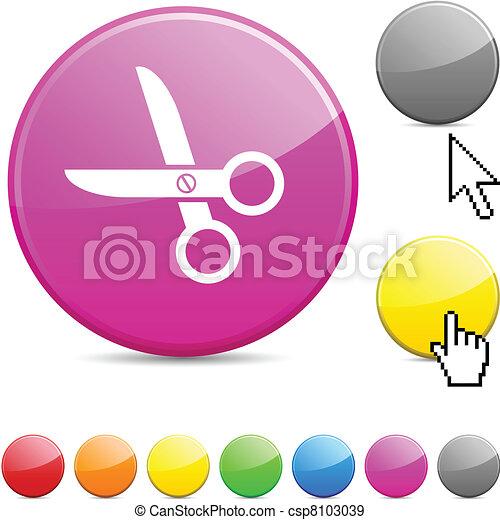 scissors glossy button. - csp8103039