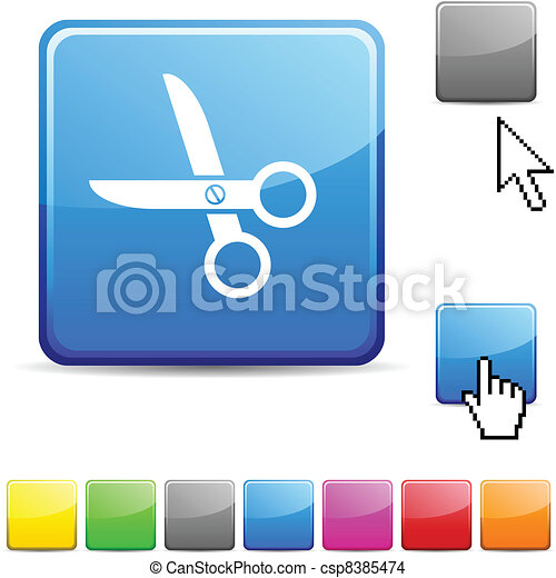 scissors glossy button. - csp8385474