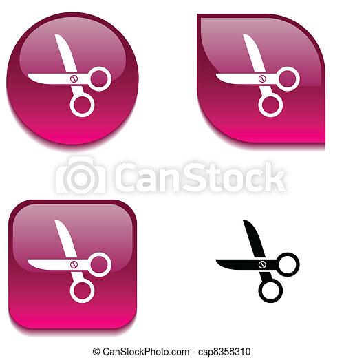 scissors glossy button. - csp8358310