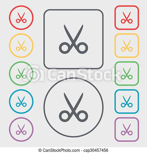 Scissors hairdresser sign icon. Tailor symbol. Symbols on the Round and square buttons with frame. Vector - csp30457456