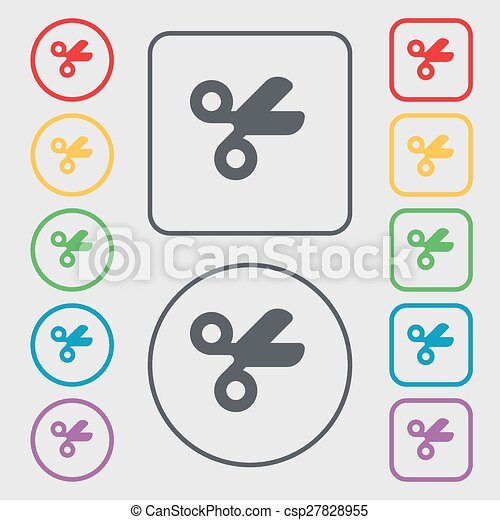Scissors hairdresser, Tailor icon sign. symbol on the Round and square buttons with frame. Vector - csp27828955