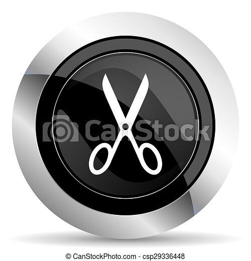 scissors icon, black chrome button, cut sign - csp29336448