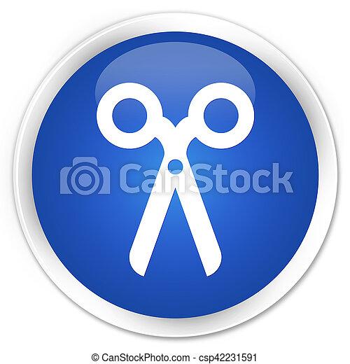 Scissors icon blue glossy round button - csp42231591