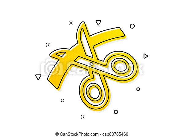 Scissors icon. Cutting ribbon sign. Tailor utensil. Vector - csp80785460