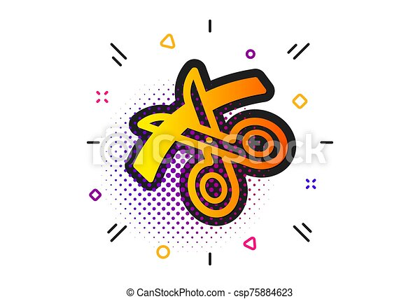 Scissors icon. Cutting ribbon sign. Tailor utensil. Vector - csp75884623