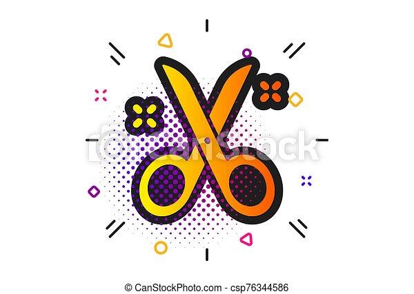 Scissors icon. Cutting tool sign. Tailor utensil. Vector - csp76344586