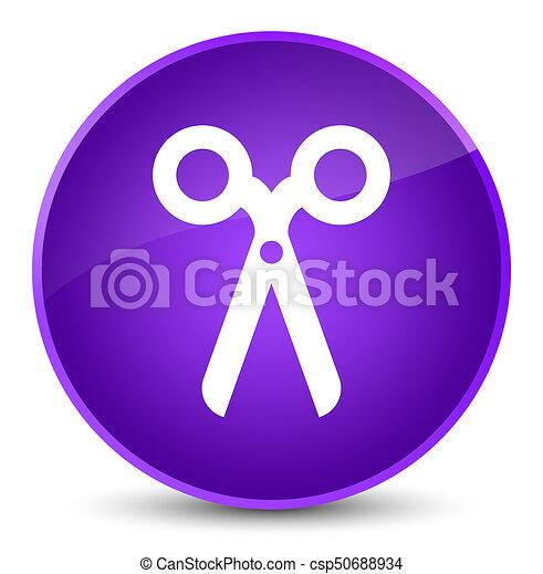 Scissors icon elegant purple round button - csp50688934
