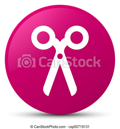 Scissors icon pink round button - csp50719131