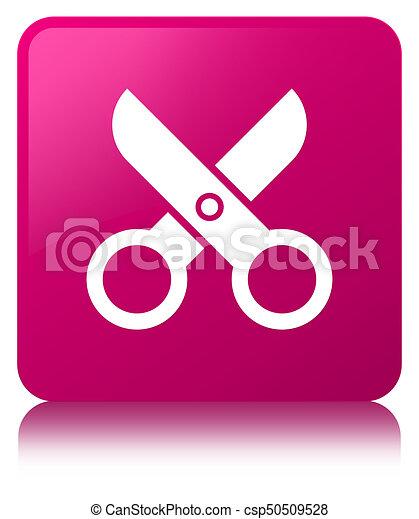 Scissors icon pink square button - csp50509528