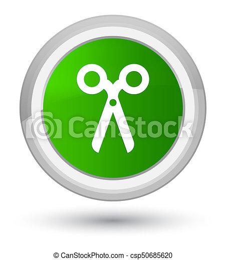Scissors icon prime green round button - csp50685620