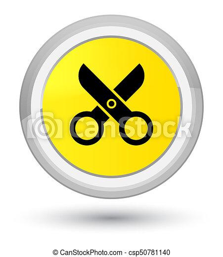 Scissors icon prime yellow round button - csp50781140