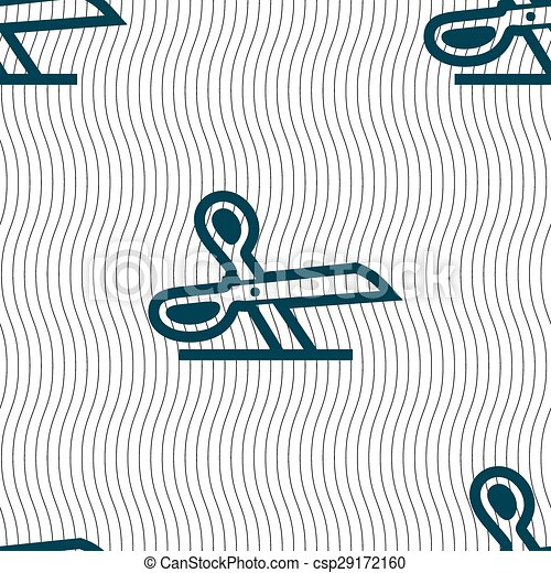 scissors icon sign. Seamless pattern with geometric texture. Vector - csp29172160